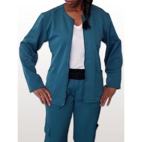 Caribbean Blue Fleece Lined Scrub Jacket For Women