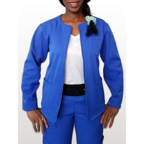 Royal Blue Fleece Lined Scrub Jacket For Women