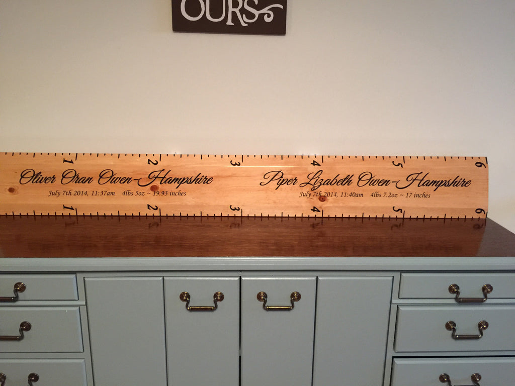 Wooden Growth Chart For Twins With Birth Info
