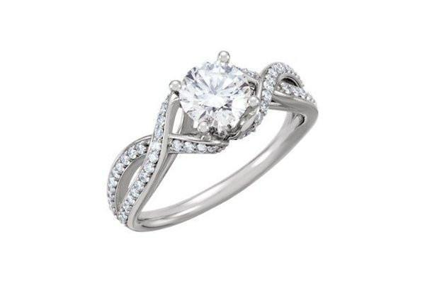 0.90 cttw Diamond Twist Shank Engagement Ring Setting in 14K White Gold-Farsi Jewelers