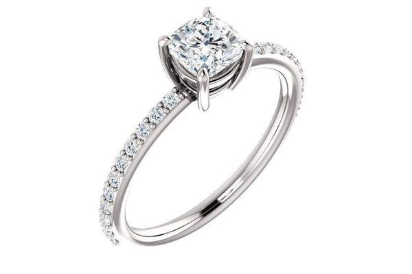 14K Cushion Forever One™ Moissanite & 1/5 CTW Diamond Engagement Ring-Farsi Jewelers