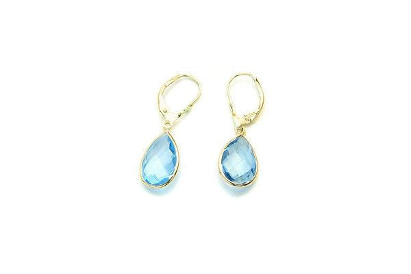 14K Gold Dangle Earrings With Blue Topaz Pear Shaped Gemstones-Farsi Jewelers