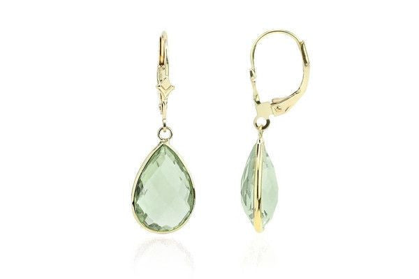14K Gold Dangle Earrings With Green Amethyst Pear Shaped-Farsi Jewelers