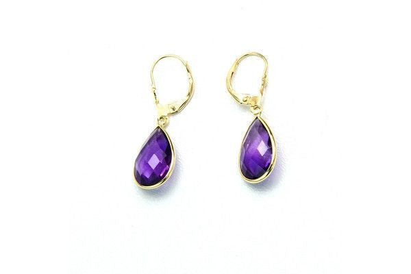 14K Gold Dangle Gemstone Earrings Pear Shaped Amethyst-Farsi Jewelers