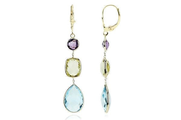 14K Gold Gemstone Earrings Amethyst, Lemon & Blue Topaz-Farsi Jewelers
