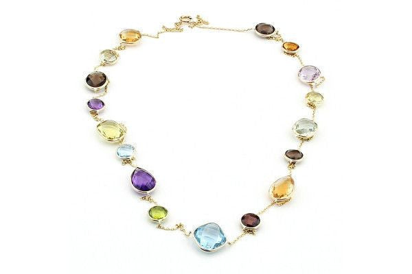 "14K Gold Station Necklace With Multi Color Gemstones 36""-Farsi Jewelers"