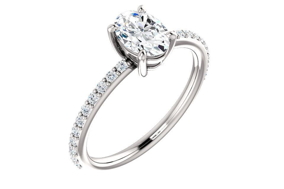 14K Oval Forever One™ Moissanite & 1/5 CTW Diamond Engagement Ring-Farsi Jewelers