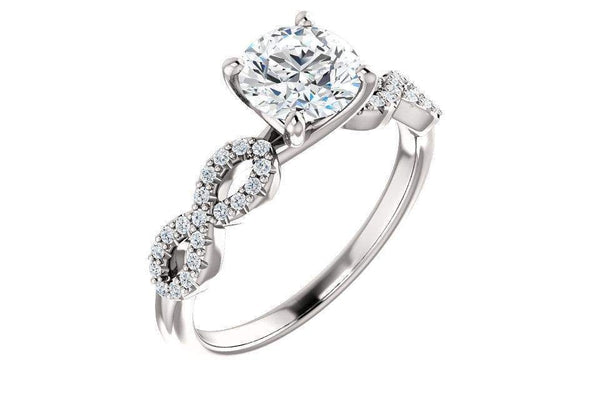 14K Pave Twist Forever One Moissanite Engagement Ring-Farsi Jewelers