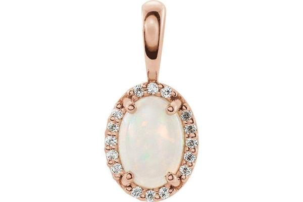 14K Rose Gold 8X6 mm Opal & Diamond pendant-Farsi Jewelers