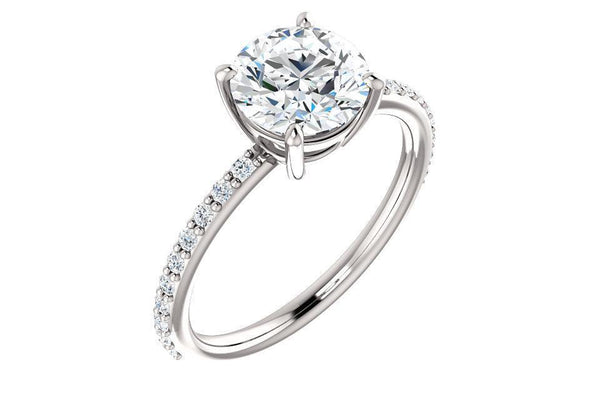 14K Round Forever One™ Moissanite & 1/5 CTW Diamond Engagement Ring-Farsi Jewelers