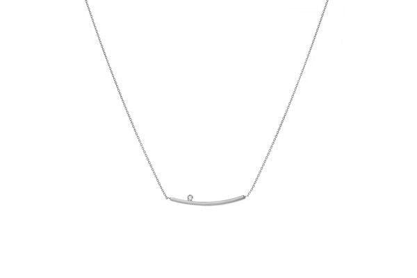 14KW Curved Bar-Diamond Necklace - Adjustable Chain-Farsi Jewelers