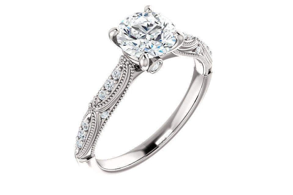 14KW Diamond & 1.0ct Forever One Moissanite Engagement Ring-Farsi Jewelers