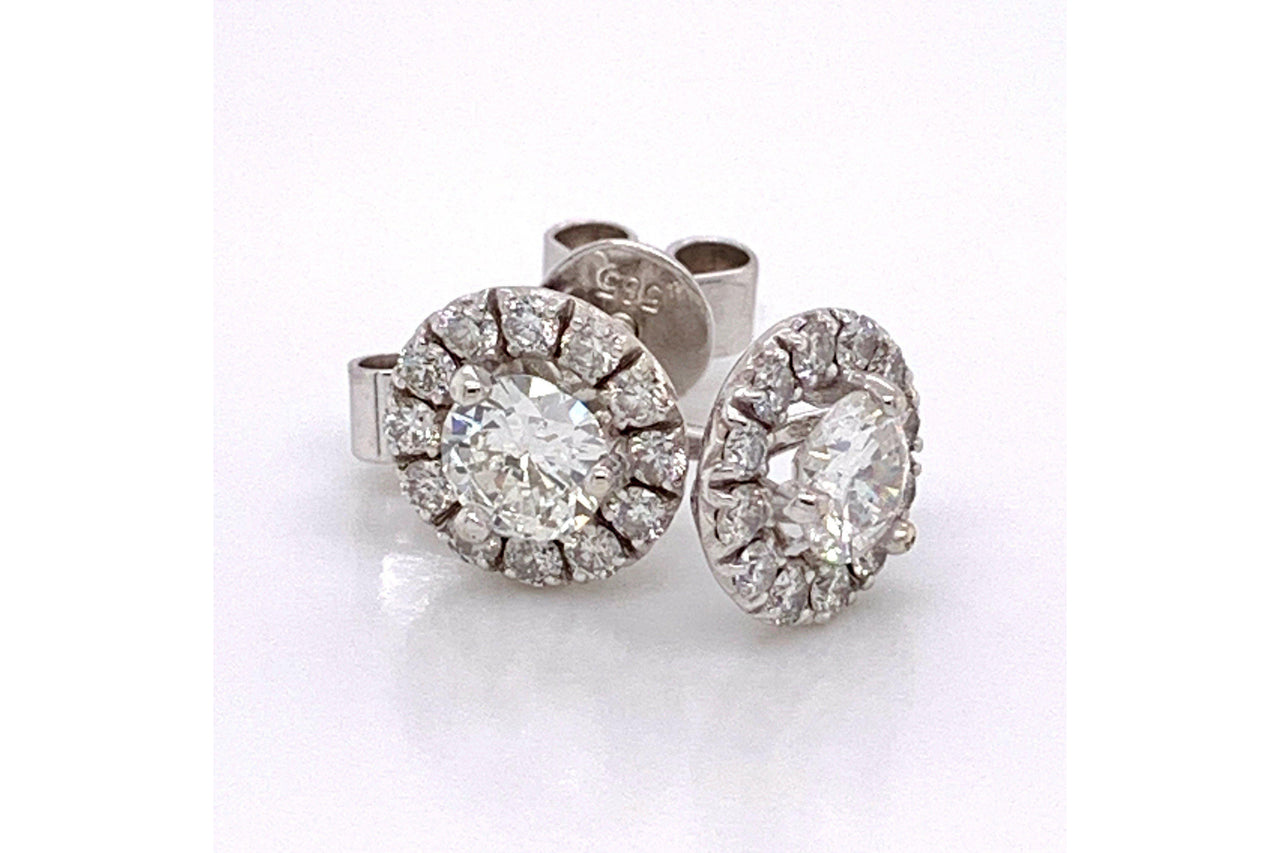 14KW Halo Diamond Stud Earring 1.15CTW-Farsi Jewelers