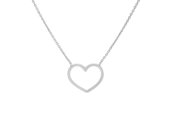"14KW Open Heart Necklace 16"" to 18"" Adjustable-Farsi Jewelers"