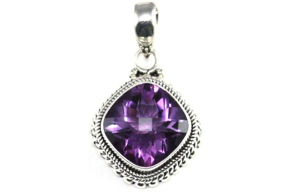 925 S. Silver Bali 14mm Antique Checkerboard Amethyst Pendant-Farsi Jewelers