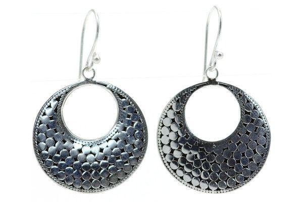 925 S. Silver Bola Large Disc Earrings-Farsi Jewelers