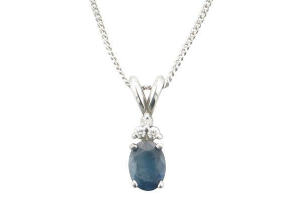 Blue Sapphire and Diamond pendant in 14K white gold-Farsi Jewelers