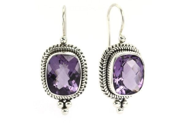 Cushion Cut Amethyst earrings handmade in Sterling Silver-Farsi Jewelers