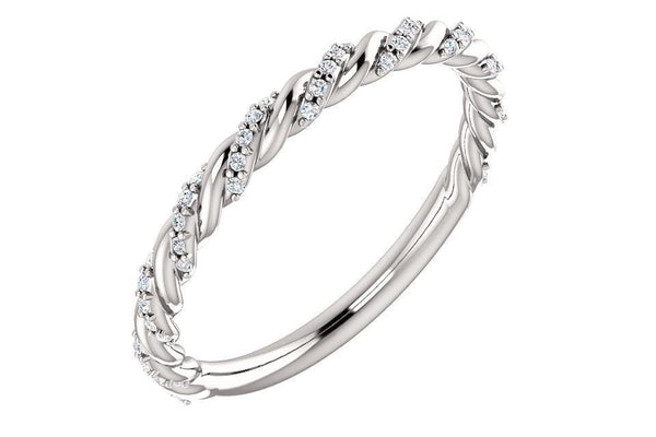 Diamond Pavé Cable Twist Wedding Band 0.25CTW-Farsi Jewelers