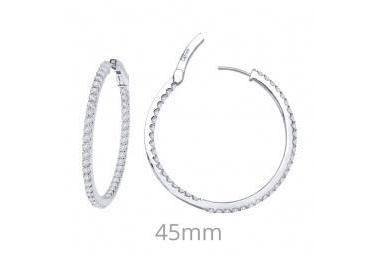 ER CL S.S. PT 3.48 CTTW OPEN HINGED ROUND INSIDE OUT HOOPS 45MM DIAMETER-Farsi Jewelers