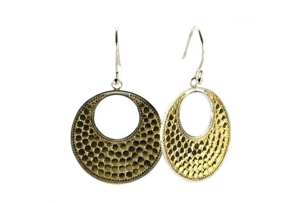 Gold Vermeil-Sterling Silver Bali Bola Round Earrings-Farsi Jewelers