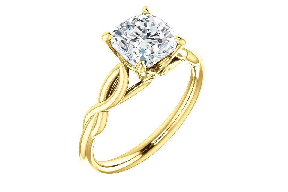 Infinity Solitaire Cushion Cut Forever One™ Moissanite Engagement Ring-Farsi Jewelers