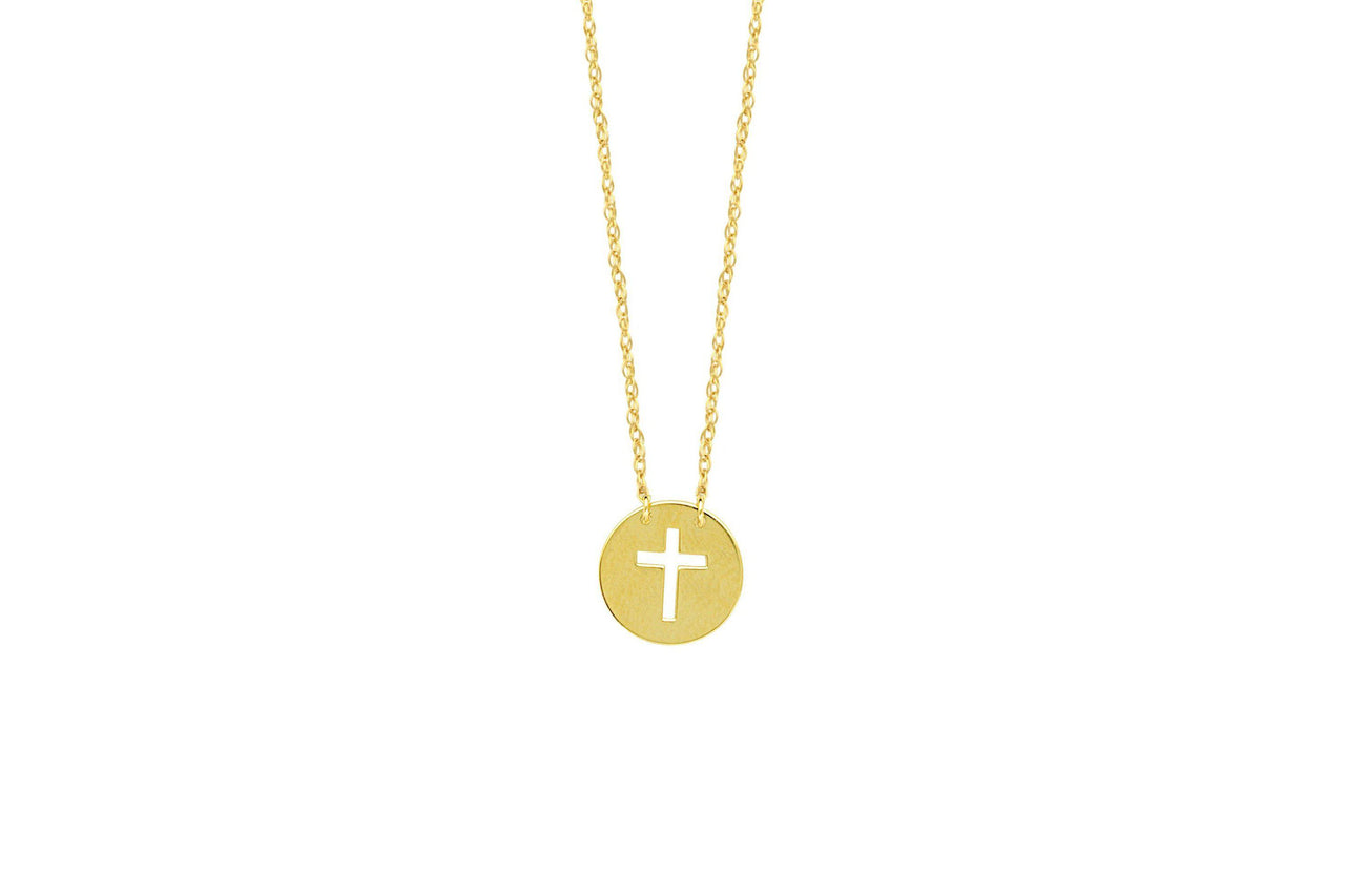 Mini Disk Cut Out Cross Necklace-Farsi Jewelers