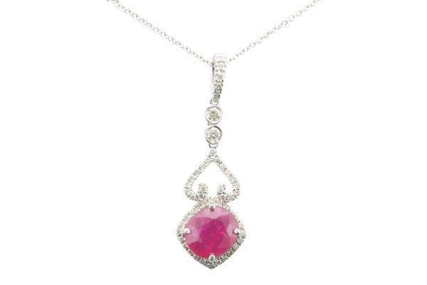 Oval Ruby and diamond drop necklace-Farsi Jewelers