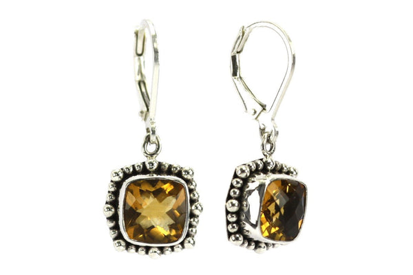 P A D M A 925 S. Silver Bali Beaded Citrine Earrings-Farsi Jewelers