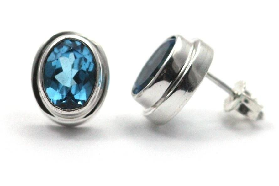 P A D M A 925 S. Silver Bali Blue Topaz Post Stud Earrings-Farsi Jewelers