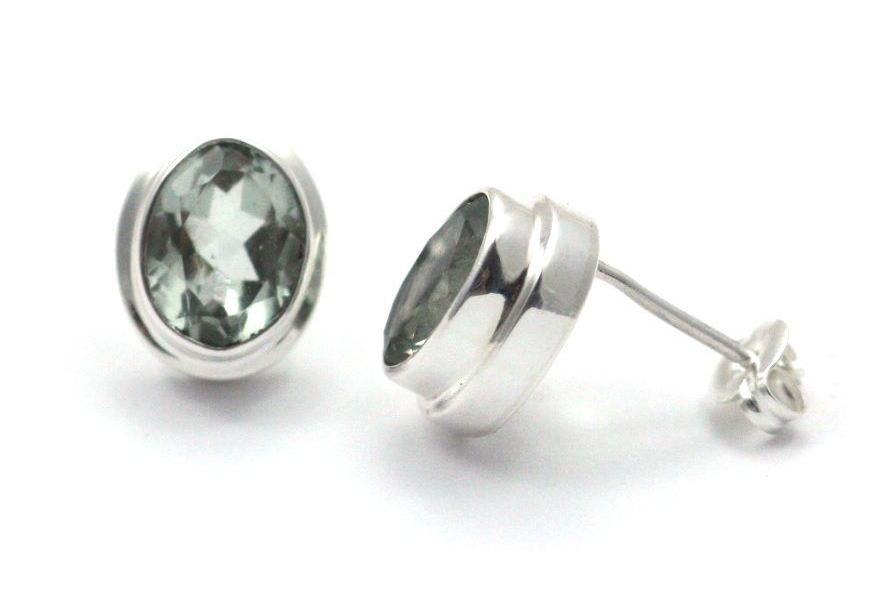 P A D M A 925 S. Silver Bali Green Amethyst Stud Earrings-Farsi Jewelers