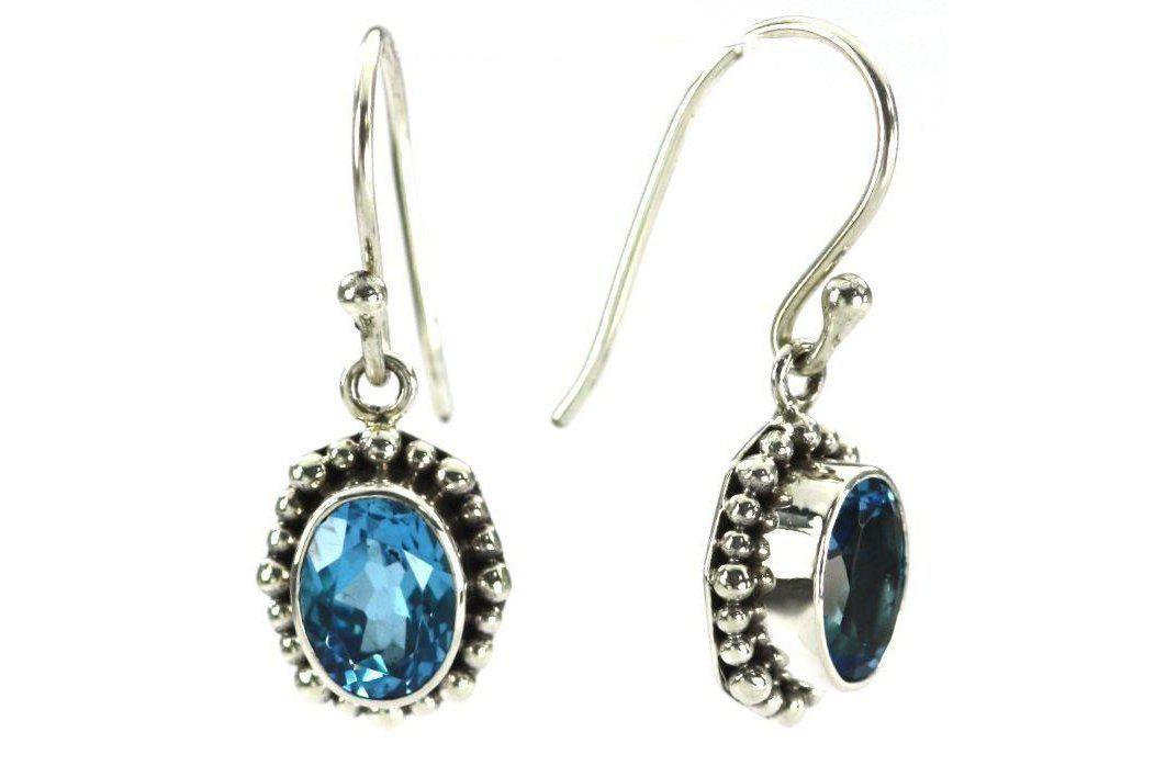 P A D M A 925 S. Silver Bali Oval Swiss Blue Topaz Earrings-Farsi Jewelers