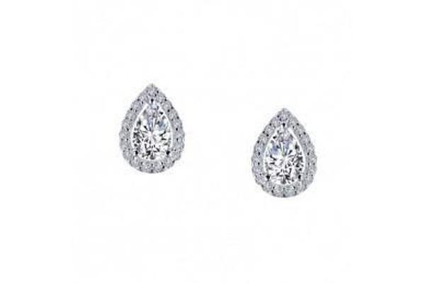 pear-shaped stud earrings with Lassaire clear and black simulated diamonds in silver-Farsi Jewelers