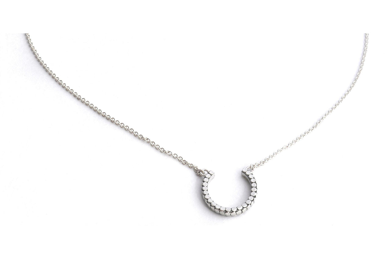 "S O H O 925 S. Silver Round Horseshoe Necklace 16-18""-Farsi Jewelers"