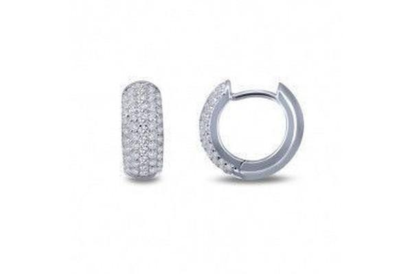 Silver Pave' Huggie Earrings E0200CLP00-Farsi Jewelers