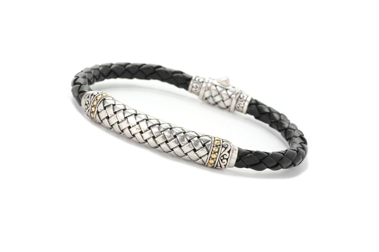 SS & 18K BLACK BASKETWEAVE BRAIDED LEATHER BRACELET-Farsi Jewelers