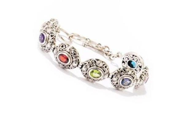 "SS 6.5"" MULTI GEMSTONE BRACELET WITH 1"" EXTENDER-Farsi Jewelers"