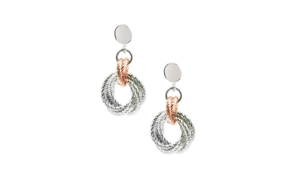 SS AND ROSE GOLD PLATED KAYLA EARRINGS-Farsi Jewelers