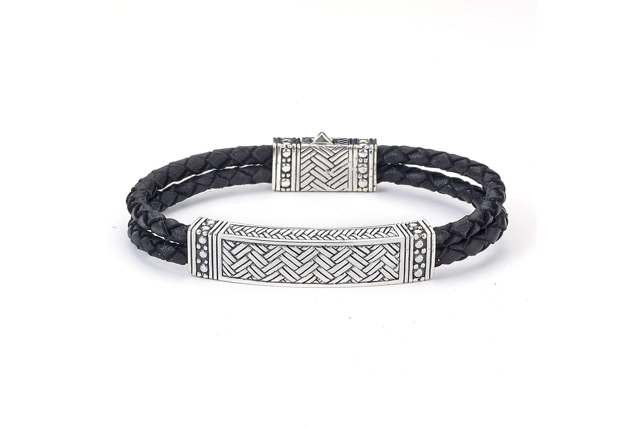 SS BASKET WEAVE BLACK LEATHER BRACELET-Farsi Jewelers