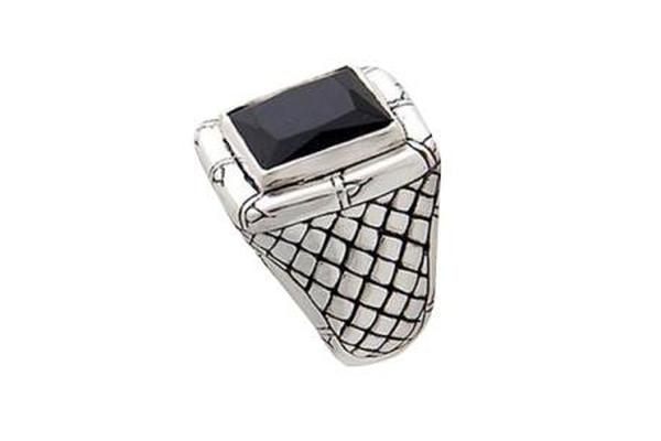 SS BLACK ONYX WITH WOVEN SHANK DESIGN RING-Farsi Jewelers
