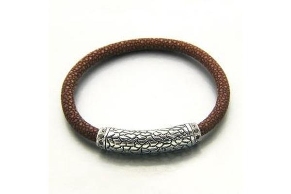 SS BROWN STINGRAY LEATHER BRACELET-Farsi Jewelers