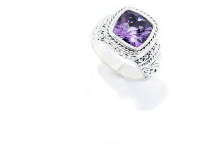 SS CUSHION CUT AMETHYST RING-Farsi Jewelers