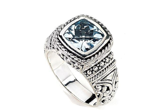 SS CUSHION CUT BLUE TOPAZ RING-Farsi Jewelers