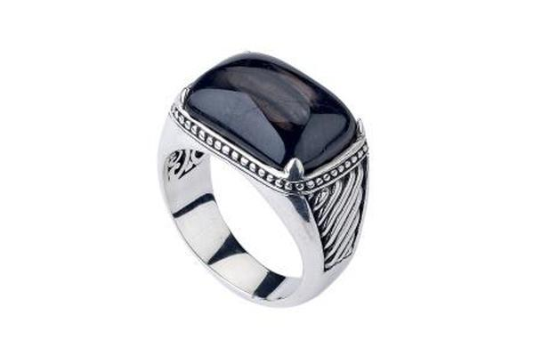SS HYPERSTHENE CUSHION CABACHON RING-Farsi Jewelers