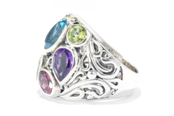 SS MULTI GEMSTONE BALI DESIGN RING-Farsi Jewelers