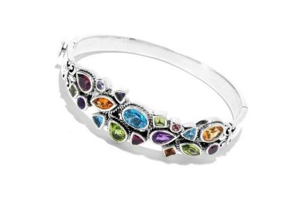 SS MULTI GEMSTONE BANGLE-Farsi Jewelers