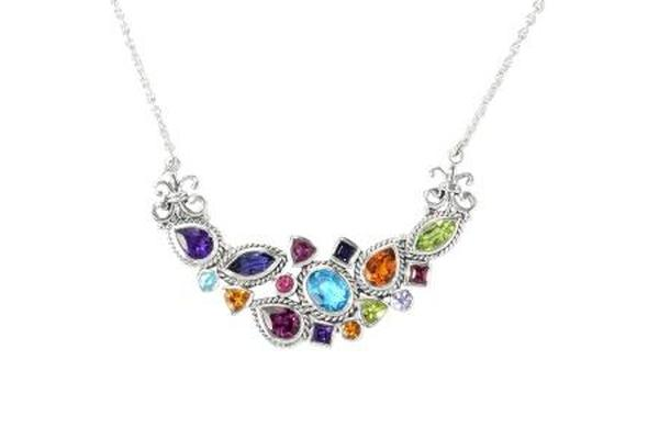 SS MULTI GEMSTONE NECKLACE-Farsi Jewelers