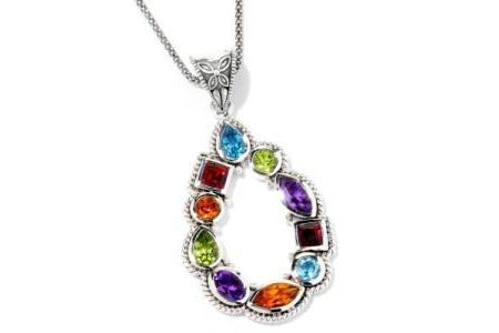 SS MULTI GEMSTONE PENDANT (No Chain)-Farsi Jewelers