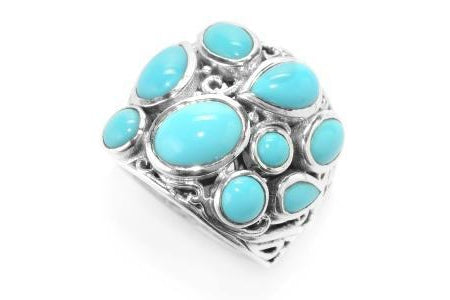 SS MULTI SHAPE SLEEPING BEAUTY TURQUOISE RING-Farsi Jewelers