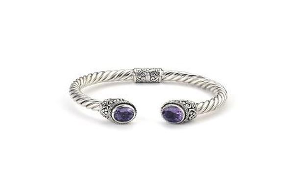 SS OVAL AMETHYST TWISTED BANGLE-Farsi Jewelers